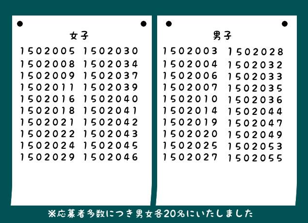 学校恋活第二弾合格発表