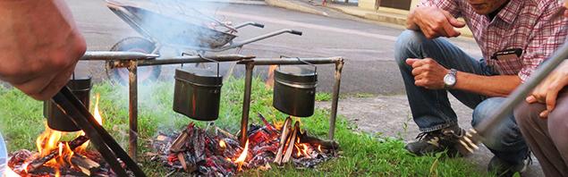 飯盒炊爨体験の様子